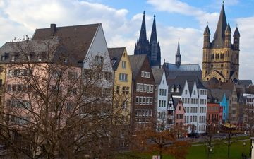 trees, park, architecture, building, old town, cologne