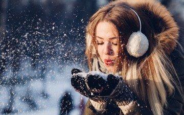 снег, зима, девушка, взгляд, волосы, лицо, мех