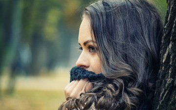 tree, girl, portrait, brunette, model, profile, face, long hair, scarf