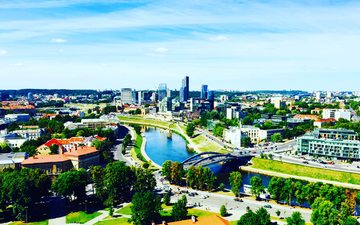 panorama, bridge, the city, resort, building, area, the urban landscape, vilnius, lithuania