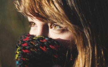 глаза, девушка, портрет, модель, волосы, лицо, шарф, крупным планом