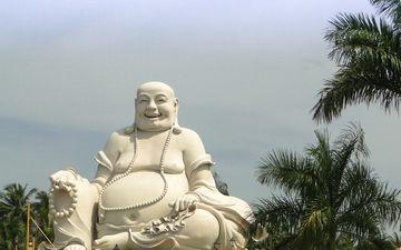 храм, азия, будда, статуя, вьетнам, статуя будды, laughing buddha