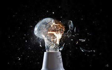 black background, glass, light bulb, the explosion, sparks, electricity