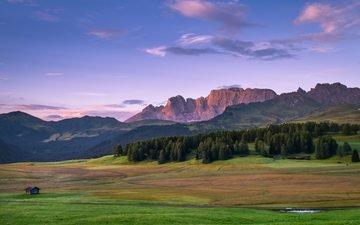 небо, трава, облака, деревья, горы, лес, домик, хижина