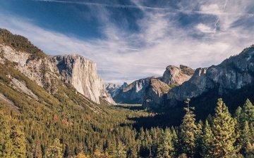 облака, деревья, горы, природа, лес, пейзаж, осень, долина, альпы, горный хребет, национальный парк