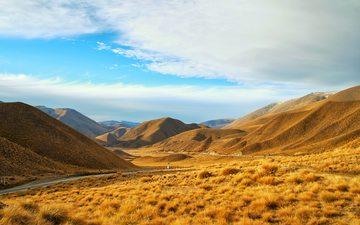 the sky, clouds, mountains, nature, plants, landscape, horizon, autumn, valley, new zealand