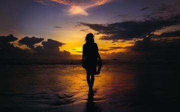 вода, берег, море, пляж, горизонт, рассвет, океан, силуэт