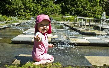 water, park, children, garden, fountain, child