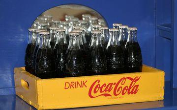 напиток, стекло, бутылки, кока-кола, ящик, кола