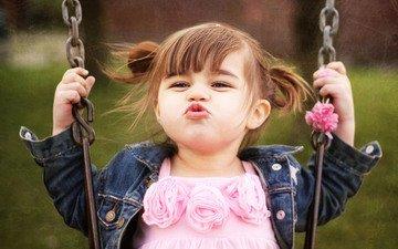 children, girl, face, swing