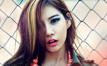 девушка, музыка, взгляд, сетка, лицо, макияж, азиатка, корея, glam