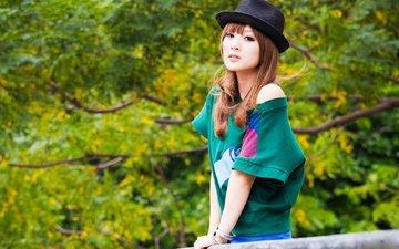 girl, look, model, hat, asian