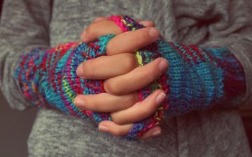 pattern, hands, fingers, knitting, mitts