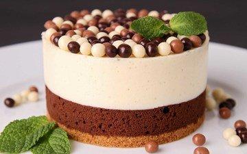 мята, шарики, шоколад, сладкое, выпечка, торт, десерт, пирожное