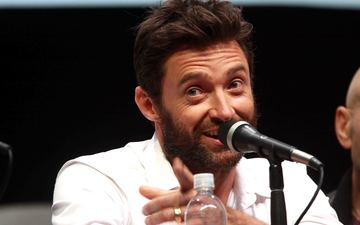 smile, microphone, look, actor, face, male, hugh jackman, celebrity, interview