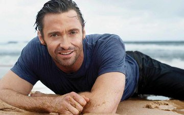 smile, sand, look, actor, face, male, hugh jackman, celebrity