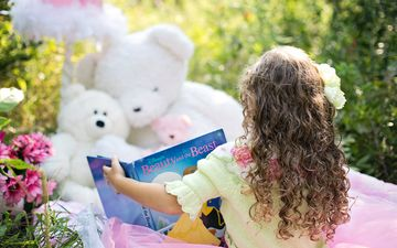 nature, summer, bears, girl, curls, toys, child, book