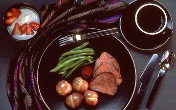 клубника, кофе, мясо, картофель, блюдо, фасоль, говядина
