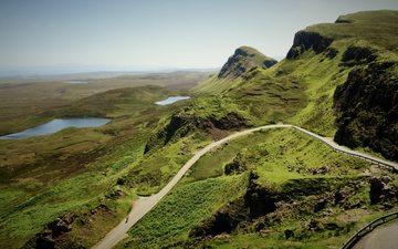 road, grass, mountains, hills, nature, landscape, valley, rock, mountain range
