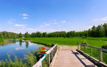 the sky, grass, trees, river, bridge, glade, meadow, railings, wooden