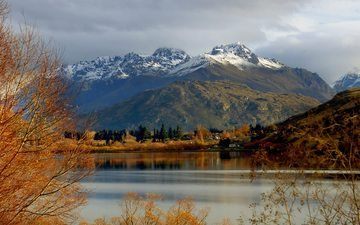 clouds, trees, lake, mountains, snow, nature, landscape, autumn, mountain range