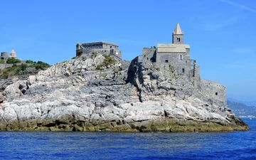 the sky, sea, rock, castle, italy, church, liguria, porto venere