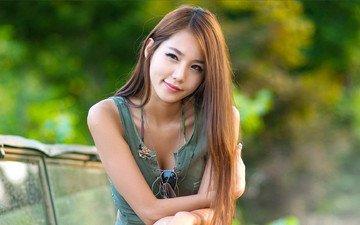 девушка, улыбка, взгляд, очки, модель, волосы, азиатка