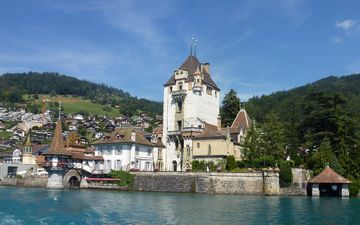 lake, mountains, sea, castle, the city, switzerland, the building, oberhofen castle, lake thun, oberhofen am thunersee