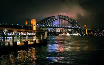 night, bridge, the city, sydney, australia, the urban landscape, harbour bridge