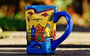 рисунок, вода, кружка, макросъемка, чай, посуда, керамика