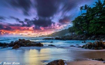 небо, скалы, камни, берег, закат, море, пляж, таиланд, пхукет, maher najm