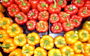 желтый, красный, овощи, перец
