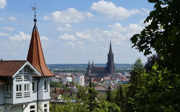 the sky, castle, the city, architecture, the building, germany, spire, the urban landscape, cathedral, ulm cathedral