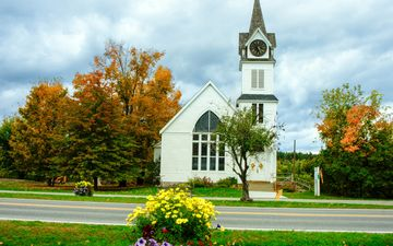 the sky, flowers, trees, landscape, park, castle, autumn, church, architecture, the building, chapel, lawn, vermont