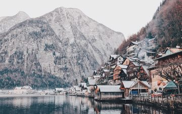 trees, water, lake, mountains, snow, winter, sea, mountain, austria, relief, the fjord, hallstatt
