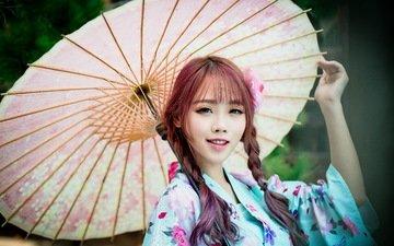 стиль, девушка, улыбка, взгляд, модель, волосы, зонт, кимоно, азиатка, косы