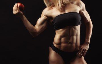 девушка, поза, яблоко, мышцы, бодибилдинг