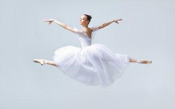 девушка, платье, прыжок, танец, руки, балет, балерина, пуанты