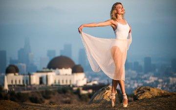 девушка, платье, модель, танец, ножки, балерина, пуанты