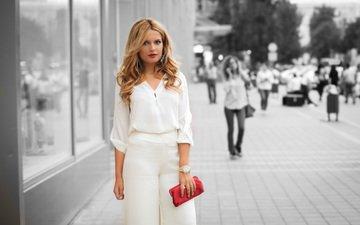 стиль, девушка, фон, люди, город, взгляд, улица, волосы, сумочка, лицо, одежда
