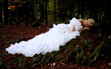 trees, forest, girl, blonde, foliage, autumn, white dress, the bride