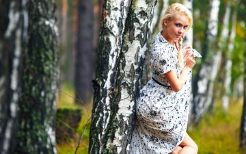 trees, forest, girl, dress, blonde, birch, model, alena