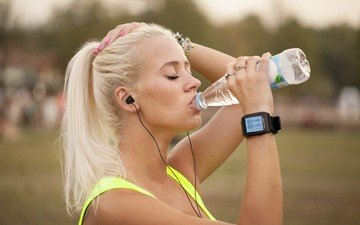 water, blonde, portrait, watch, headphones, model, sport, hands, running, closed eyes