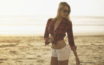 girl, pose, blonde, sand, beach, glasses, model, figure, posing, piercing, shirt, shorts, bokeh, sunglasses