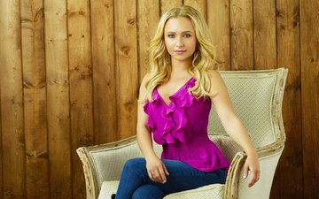 girl, blonde, look, hair, hayden panettiere, face, chair, actress