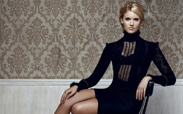 girl, dress, pose, blonde, look, chair, legs, actress, maggie grace