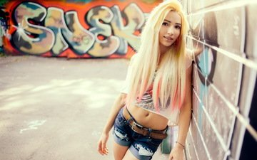 girl, background, blonde, the city, look, wall, model, graffiti, asian, shorts