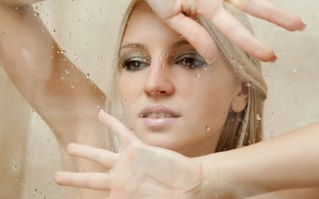 girl, blonde, drops, model, hair, face, hands, glass, alysha a