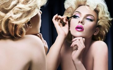 girl, blonde, portrait, mirror, model, actress, makeup, hairstyle, scarlett johansson