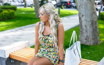 girl, dress, blonde, summer, model, legs, hair, bench, handbag, face, hairstyle